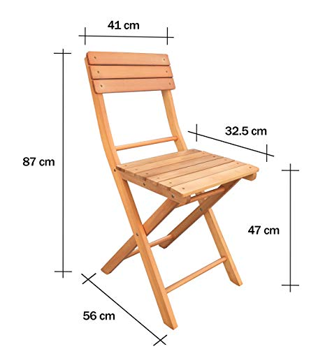 Havnyt SET of 2 Folding Garden Chairs Wooden Teak Outdoor Garden Furniture