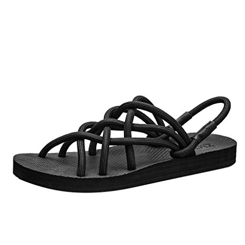 Apragaz Frauen Sommer Flache Sandalen Römische Atmungsaktive Mode Komfortable Strandsandalen rutschfeste Riemen Gürtel Hausschuhe (Color : Schwarz, Size : 36 EU) - Komfortable Riemen