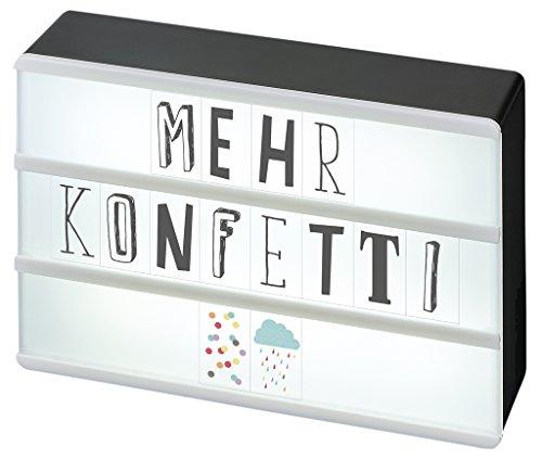 moses. Happy Me LED Lichtbox mit Mini-USB-Anschluss | Inkl. 120 Buchstaben, Ziffern und Symbolen, Plastik, Schwarz, 10.5 x 15 x 4 cm