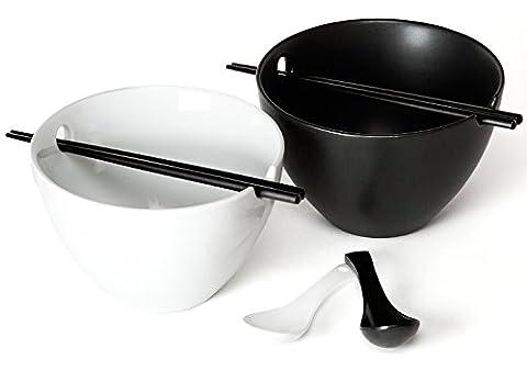 Kenley Ramen Schale Schüssel Set - Groß 1L Suppenschalen Suppenschüsseln Reisschalen - Ø18,5cm Nudelschale, Bambus Essstäbchen & Keramik Löffeln für Asiatisches Geschirr - Mikrowellenfest (Keramik Pasta Bowl)