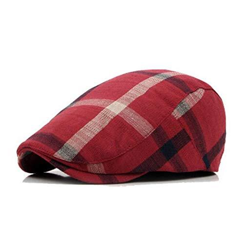 assic Plaid Berets Caps für Männer Casual Baumwolle Flat Cap Frauen Newsboys Gatsby Casquette Gorras Schirmmütze Cabbie Hüte,Red,L ()