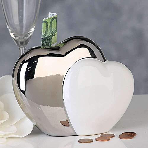 Spardose Sparschwein - Hearts - Spardose mit 2 Herzen silber und weiss