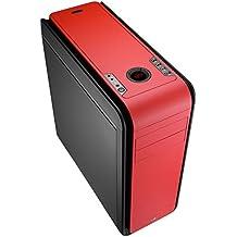 Aerocool DS 200 - Caja gaming para PC (ATX, pantalla LCD, retroiluminación LED 7 colores, 7 slots de expansión, USB 2.0/3.0, Audio HD), color rojo