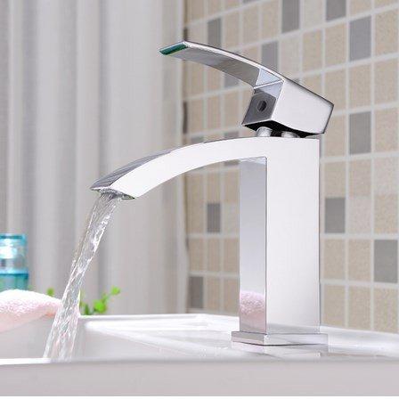 Aolomp Waschtischarmatur Chrome Finished Wasserfall Waschbecken Wasserhahn Waschbecken Mixer Einzigen Handgriff Bad Wasserhahn Heiße Und Kalte Zeitgenössische Stil (Luft Heiße Chrome)