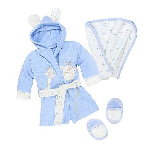 Bebessi Baby Bademantel Set mit Badetuch Schuhe Jungen, Blau, Gr. 6-12 Monate/Herstellergröße - 4