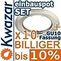 10er Set K-15 Einbaustrahler Inkl Gu10 230v Fassung - Nickel Matt Innox von Kwazar