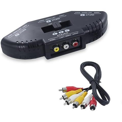 Fosmon 3 Puerto-Way Switch AV compuesto de audio / video / juego Selector RCA con Cable adaptador para XBox, XBOX 360, PS1, PS2, PS3, Gamecube, Wii, DVD, VCR y mas! (Negro) - Fosmon empaquetado al por