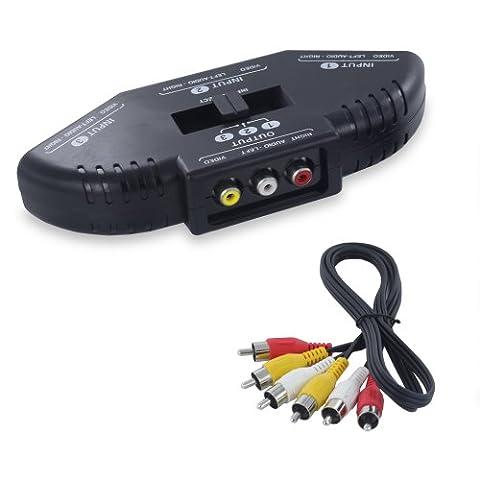 Fosmon 3 façon audio/vidéo RCA Commutateur Switch Sélecteur Splitter boîte avec AV câble Adaptateur pour Microsoft XBox, XBOX 360, playstation PS1, PS2, PS3, Gamecube, Wii, DVD, VCR