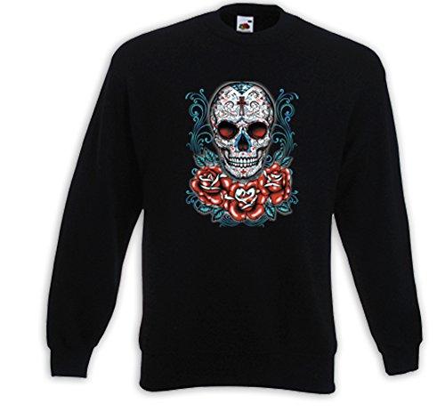 Mexican Pullover Tattoo Skull Rose Sugar Skull Rockabilly Muertos Schwarz