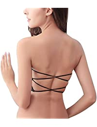 Dilency Sales Womens/Girls Padded No Shoulder Lace-Back Cross Breast Wrapped.(Free Size- 30-36) Removable Pads