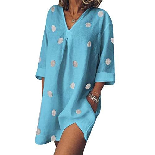 Mimanou Robe à Pois à Manches Trois-Quarts à la Mode pour Femmes Robes