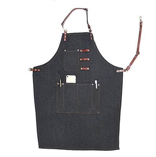 YMYJZ Canvas Work Schürze, Verstellbare Lederriemen Bib Denim Schürze Mit Taschen Für Männer Frauen Chef Butcher -