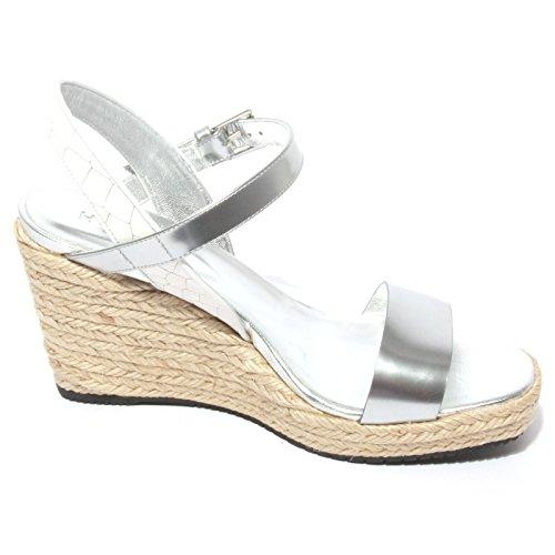 B0712 sandalo donna HOGAN ZEPPA argento/bianco shoe sandal woman Argento/Bianco