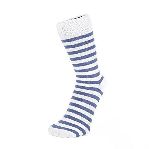 Blau und Weiß Dünne gestreifte Socken (Größe: 4-7)
