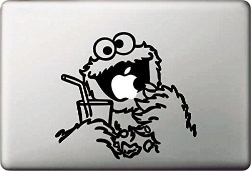 Vati Blätter Removable kreative Karikatur-Figur essen Apple-Aufkleber Aufkleber Skin Art Schwarz für Apple Macbook Pro Air Mac 13