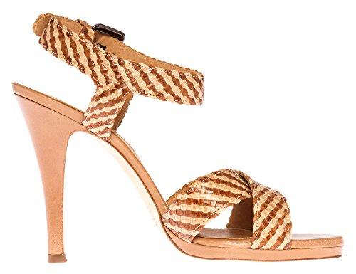 STRENESSE by GABRIELE STREHLE Femmes Sandalettes cuir véritable Collection d'été Marron Clair