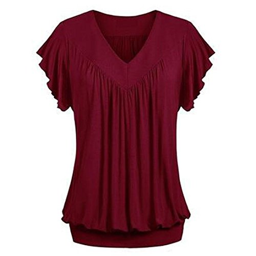 VEMOW Mother's Day Gift Elegant Women Ladies Girls Plus Size Loose V Neck Short Sleeve Solid Color Top Pleated Blouse T-Shirt(Weinrot, EU-48/CN-3XL)
