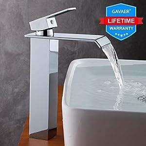 Itian Grifo Monomando de Lavabo Modelo Cascada Chorro Mezclador Lat/ón Fundido grifo lavabo cascada ba/ño Cartucho Cer/ámico