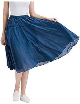 Mujer Casual Midi Plisada Falda De Cintura Alta Con Bolsillos
