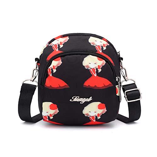Mini sac de messager, léger imperméable en nylon petits sacs à main petite bandoulière multi-poches sac téléphone portable portefeuille pour les filles de femmes avec maniable Carry ,H,16*9*18cm