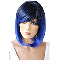 PRETTYSHOP Peluca de pelo corto peluca de Bob calor fibras sintéticas resistentes mezcla azul # 1T3500D SH032q