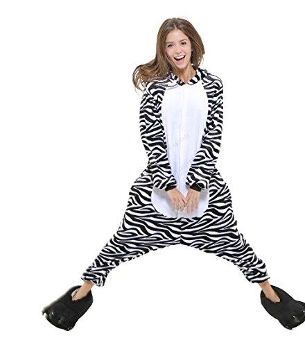 Zebra Ganzkörper Tier-Kostüm für Erwachsense - Plüsch Einteiler Overall Jumpsuit Pyjama Schlafanzug - Schwarz/Weiß - Gr. L (Schlafanzug Kostüm Einteiler)
