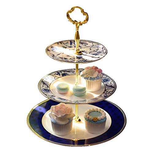 Chunxia alzata per torta rotonda in porcellana 3 livelli, piatto da portata per dessert e cupcake