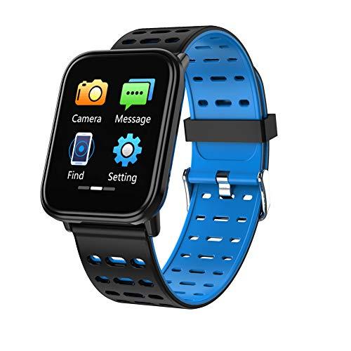 BFORS Volle Touch-Farbdisplay Smart-Armband Herzfrequenz-Überwachung Sport Step Call Reminder Sportuhr,Blue 256k Flash