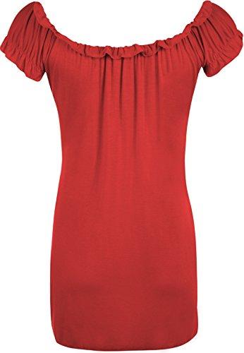 WearAll - Tunique extensible à manches courtes - Hauts - Femmes - Grandes tailles 40 à 58 Rouge
