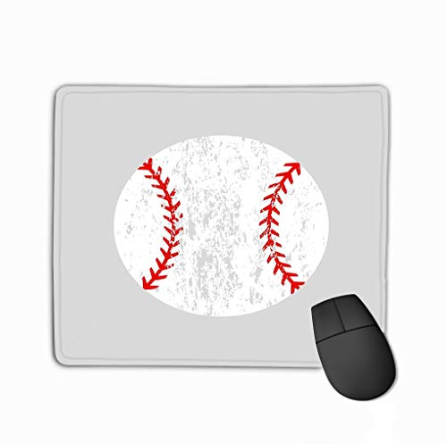 Distressed-design Baseball (Custom Mouse Pad,11.81 X 9.84 Inch Unique Printed Mouse Mat Design Distressed Baseball Ball Softball Silhouette icon Isolated Distressed Baseball Ball Silhouette icon)