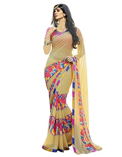 1d0dbb853 -60% Vedant Vastram Women s Premium Georgette Printed Saree With Blouse  Piece (Beige Colour)