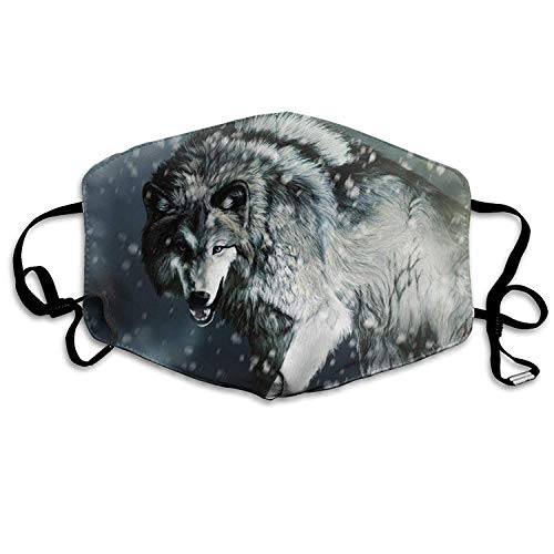EighthStore Fiercely Wolf Anti-Dust Warm Windproof Face Masks Dustproof Washable Safety Mask Reusable Mouth Mask Unisex for Men Women Polyester Mouth-Muffle Mund Maske