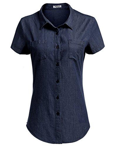 HOTOUCH Damen Kurzarm Jeansbluse Jeanshemd Mit Brusttaschen Klassische Casual Denim Shirt (Kurzarm-jeanshemd Baumwolle)