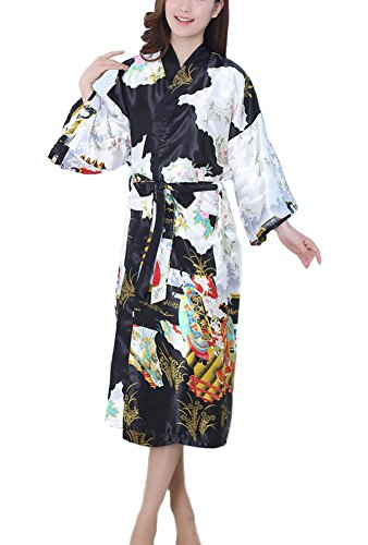 GGTFA Donne In Kimono Accappatoio Lungo Accappatoio In Stile Abito Pigiameria Pigiameria Nero