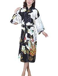 DELEY Mujeres Kimono Satén Seda Elegantes Suaves Batas de Baño Ropa de Dormir Albornoces Camisón Pijamas Peignoir