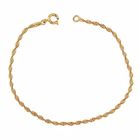 YAZILIND 18K double chaîne de type spirale Femmes Filles plaqué zircone cubique Or Bracelet Cuff Bracelet