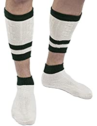 Trachtensocken Loferl - Trachtenstrümpfe 2-teilig beige/grün zur Lederhose Wadenwärmer Socken
