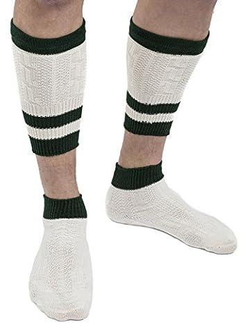 Trachtensocken Loferl Trachten Strümpfe Klassik Lederhose weiss-beige / grün Socken
