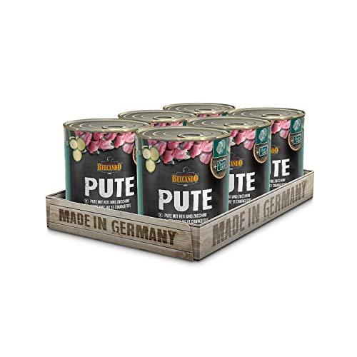 Belcando Super Premium [6er Multipack] | Nassfutter für Hunde | Feuchtfutter Dose | Alleinfutter für Hunde Aller Rassen (Pute mit Reis & Zucchini, 800 g)