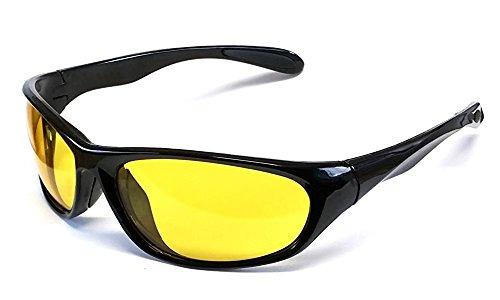 Lente Amarillo Visión Nocturna Conducción Gafas, Policarbonato Irrompible 100% UV400 Lente, I-Sential Estuche Duro y Paño
