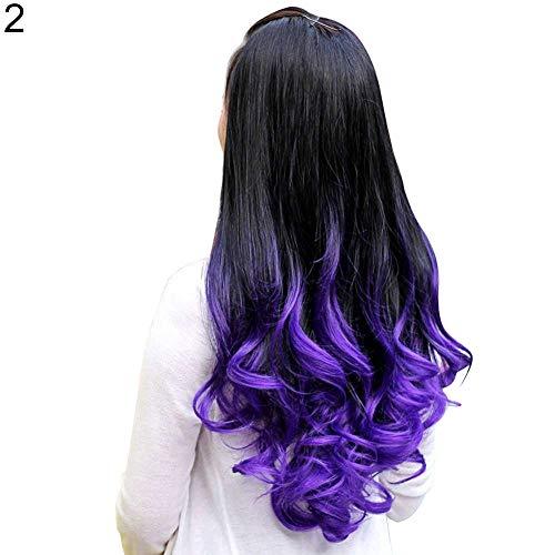 P12cheng Perücke, lang, gelockt, gewellt, für Damen, lang, gewellt, Farbverlauf Ombre, Dreifach-Perücke, Braun violett