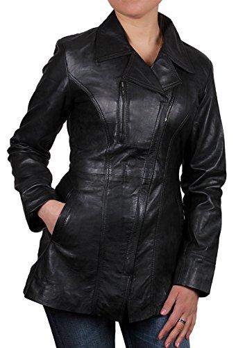 Cornell Frauen schwarz Lammfell Long Jacket Neu mit Etikett und 100% Echtes Leder Jacke Größe 8-20 (Medium 10)