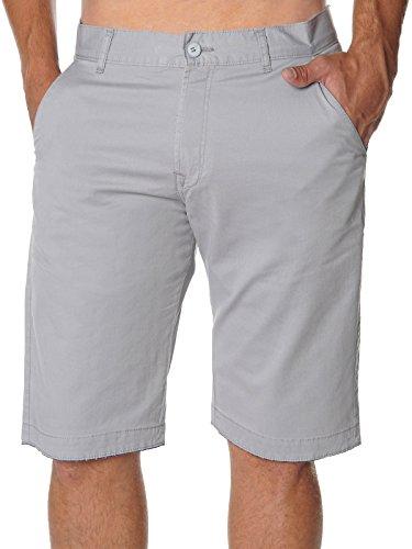 Stanley Herren Chino Shorts 22744 - Grau, W37 106 cm - Klassischen Look Wolle Anzug