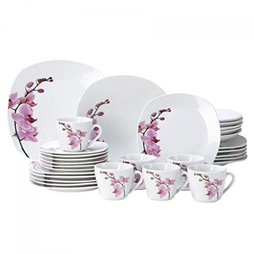 Van Well Kombiservice Kyoto 60-tlg. für 12 Personen, Tafel-Geschirr + Kaffee-Service, edles Porzellan-Geschirr, Blumen-Dekor Orchidee, rosa-rot, pink Kyoto-dessert