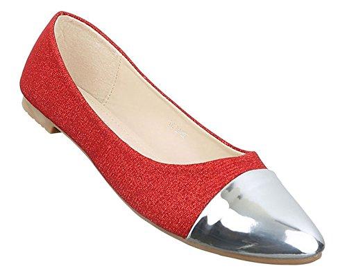 Mulheres Sapatos Planos Flats Bombas Chinelo Escorregar Em Prata Azul Ouro Vermelho 36 37 38 39 40 41