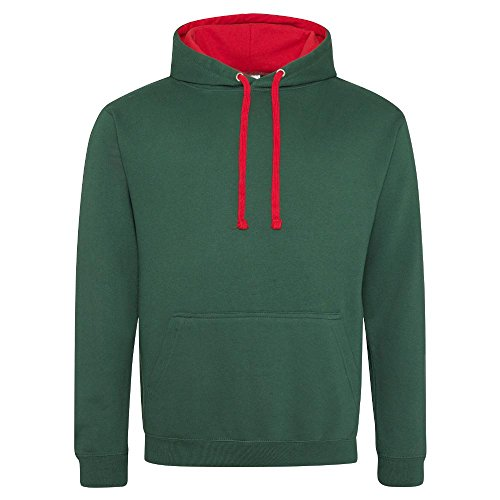 Unbekannt Just Hoods Varsity Hoodie mit farblich abgesetzten Kapuze Small green Bottle GreenFire Red
