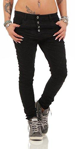 Fashion4Young 11424 LEXXURY Damen Jeans Röhrenjeans Hose Boyfriend Baggy Haremscut Damenjeans Slim-Fit (Schwarz2, XS-34) Damen Baggy Jeans