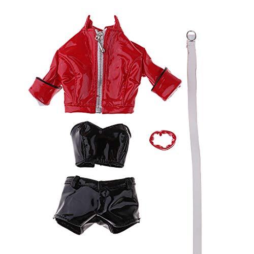 SM SunniMix 1/6 Scale Lederjacke Lederhose Weste Halskette Kleidung Set für 12inch Action (Lederhosen Kostüm Weiblich)