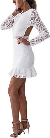 Loalirando Abito Aderente Maniche Lunghe Senza Schienale Donna Floreale Pizzo Vintage Elegante Sexy Minigonna Vestito Cerimonia