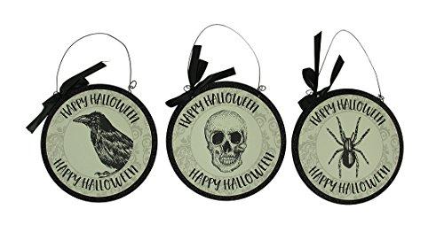 Zeckos Holz Dekorative Vorlagen 3-teiliges Set von Vintage Gothic Happy Halloween Wandbehänge 24,1cm 24,1x 24,1x 1cm Creme